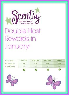 Host a party anytime this month and double your host rewards!  https://kellietwinmomma.scentsy.us/Scentsy/Home