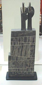 Two Windblown Figures (East Coast) stoneware, 2001  (67.5 x 28 x 11.5 cm)