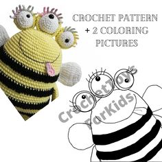 Amigurumi three-eyed BEE alien crochet pattern + Coloring picture for child