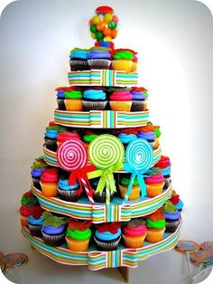 ADORABLE ! Candy Themed Bright #BIRTHDAY #CUPCAKE TOWER
