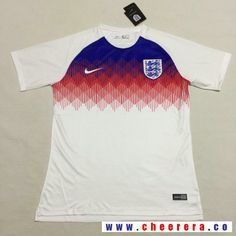 Men's  England Blank Home White Thailand Short Sleeves 2018 World Cup Soccer Jerseys