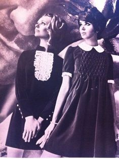 Cay Sanderson and Colleen Corby. 60s And 70s Fashion, 60 Fashion, Fashion History, Retro Fashion, Vintage Fashion, Fashion Tips, Gothic Fashion, Dress Fashion, 1960s Dresses