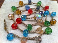 Holiday FESTIVE SPARKLY Crystal Multi colored by wandandwear, $20.00