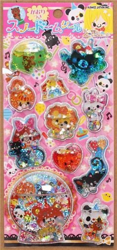 girls and circus animals water capsule sticker from Japan 2