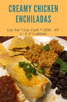 These low carb chicken enchiladas are creamy and delicious! They are low carb and low fat and a Fuel Pull on the Trim Healthy Mama eating plan. Serve with beans and rice or guacamole and extra cheese. Your choice! Thm Recipes, Healthy Recipes, Healthy Food, Trim Healthy Mama, Guacamole, Chicken Cheese Enchiladas, Pulled Chicken Recipes, Low Fat Low Carb, Sour Cream Chicken