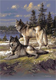 Wolves on Guard Hautman Brothers Winter Scenic Area Rug