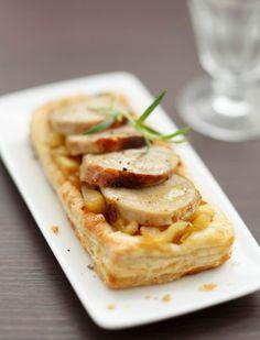 Une tartelette boudin blanc et poires à servir en entrée pour votre repas de Noël.
