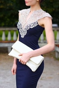 Amazing navy blue dress with lace details...Wow interesting detail. Imagine this in bridal tones & embellishments that fit your wedding theme. Get that designer look by having it custom-made. Work with a seamstress to achieve that special look.