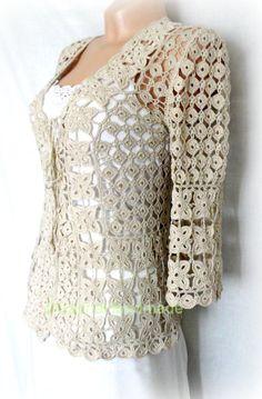 Crochet Summer Jacket Original Designe Irish Motifs With Lacing Bejge on Wanelo