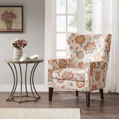 Madison Park Halford Cream (Ivory) Foam/Wood/Upholstery Accent Chair x x - Cream) Wingback Accent Chair, Upholstered Dining Chairs, Wing Chair, Bergere Chair, Tufted Chair, Upholstered Furniture, Living Room Chairs, Living Room Furniture, Living Rooms
