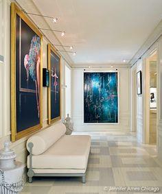 Photo by Nathan Kirkman. Interior design by John Ansehl. Chicago Apartment, Lobby Interior, Luxury Interior, Beautiful Interior Design, Beautiful Interiors, Interiors Magazine, Entry Hallway, Painted Floors, Hotel Lobby