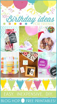 101 Birthday Ideas for Friends -- love these easy birthday gift ideas for friends. and they have free printables associated with them! Inexpensive Birthday Gifts, Creative Birthday Gifts, Friend Birthday Gifts, Inexpensive Gift, Birthday Tags, Diy Birthday, Happy Birthday, Birthday Ideas, Birthday Week
