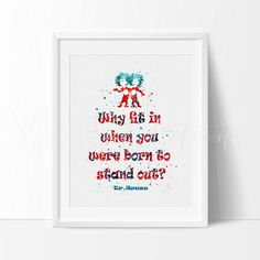 Dr. Seuss Quote Nursery Art Print Wall Decor Boy or Girl. Our designs make an attractive, modern contemporary wall piece for your baby nursery, home, office or even as a gift.