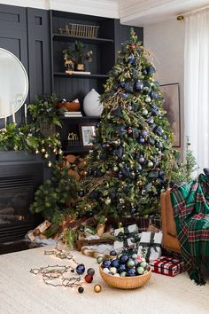grinch christmas tree Green and Blue Plaid Christmas Trees Grinch Christmas Tree, Christmas Tress, Blue Christmas Decor, Gold Christmas Decorations, Ribbon On Christmas Tree, Modern Christmas, Plaid Christmas, Christmas Holidays, Rustic Christmas Trees