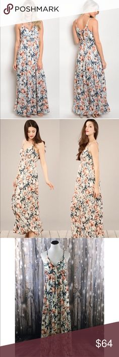 Ivory & Peach Floral Spaghetti Strap Maxi New with tags. Surplice front fully lined maxi dress.                                                                              100% polyester.                                                                                       Made in USA.                                                                                                     ❌SORRY, NO TRADES. The O Boutique Dresses Maxi