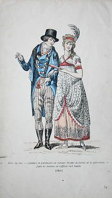 1801.  I think it says the dress is a ballgown, but it's hard to see.  It doesn't look like a typical French ballgown of this time.