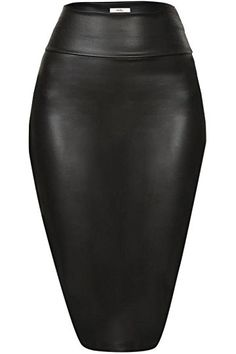 Faux Leather Pencil Skirt Below Knee Length Skirt Midi Bodycon Skirt Womens, USA