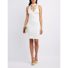 Charlotte Russe Choker Neck O-Ring Bodycon Dress ($30) ❤ liked on Polyvore featuring dresses, ivory, plunging neckline dress, charlotte russe dresses, winter white dress, zip back dress and ivory bodycon dress