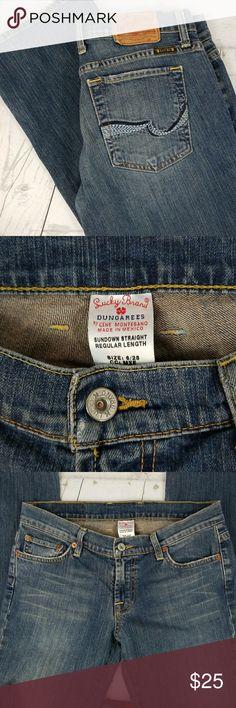 "Lucky Brand jeans Lucky Brand 5 pocket style jeans. Sundown straight. Size 6 regular. Inseam 33"" EUC. Lucky Brand Jeans Straight Leg"
