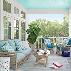 Light Blue Porch with Wicker Furniture