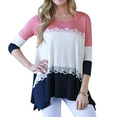 Ezcosplay Womens 34 Sleeves Colorblock Stitching T shirt Tops Blouse -- Continue to the product at the image link.