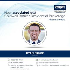 Congratulations to Ryan Skube on his recent association with Coldwell Banker Residential Brokerage! You can reach Ryan by calling (602) 405-2063 or stopping by the Phoenix Metro office. #ColdwellBankerArizona