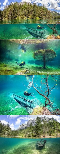 Gruner See (Green Lake) is a lake in Styria, Austria known for its shimmering, emerald-green hue and its fluctuating depth throughout the year, at times leaving a park completely submerged in it. The site has proven to be an attraction for divers.