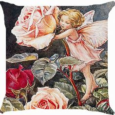 Cushion cover throw pillow case 18 inch fairy angel rose flower garden fantasy paradise cute both sides image zipper -- Huge discounts available now!   Decorative Pillows
