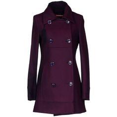 Fred Mello Coat (2.545 NOK) ❤ liked on Polyvore featuring outerwear, coats, jackets, coats & jackets, tops, purple, purple wool coat, long sleeve coat, double breasted woolen coat and double breasted wool coat