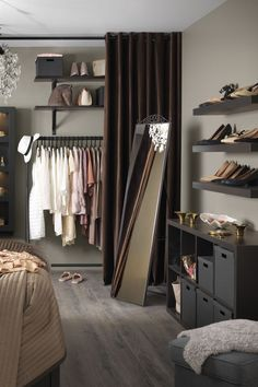 Short on storage space? Look to the walls! IKEA LACK wall shelves become one with the wall thanks to concealed mounting hardware (and look good while doing it) - perfect for creating a display of shoes or accessories in your bedroom!