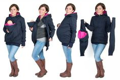 3 in 1 Kangaroo hoodie / jacket is made for carrying babies and toddlers depending on size and weight BABY SLING OR CARRIER IS REQUIRED Maternity Kangaroo baby pocket Hoodie with Babies Carrier Women front carrier Mom And Baby, Baby Love, Baby Kids, Kangaroo Baby Carrier, Baby Carrying, Baby Accessoires, Baby Bjorn, Baby Winter, Hoodie Jacket