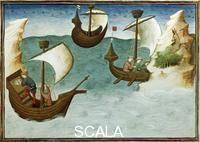 ******** Impiego della bussola, miniatura dal Livre des merveilles du monde di Marco Polo e Rustichello, Francia XV secolo.