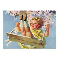 Vintage Child on Swing