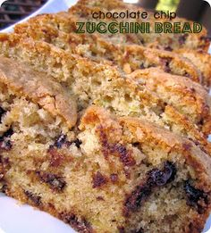 Moist Chocolate Chip Zucchini Bread from SixSistersStuff.com