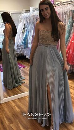 Blue Prom Dresses With Slit, Long Formal Evening Dresses A Line, Chiffon Military Ball Dresses Strapless, Elegant Pageant Graduation Party Dresses Beading Modest Formal Dresses, Strapless Prom Dresses, Cheap Homecoming Dresses, Formal Dresses For Teens, Beaded Prom Dress, Formal Dresses For Weddings, A Line Prom Dresses, Prom Dresses Online, Prom Party Dresses