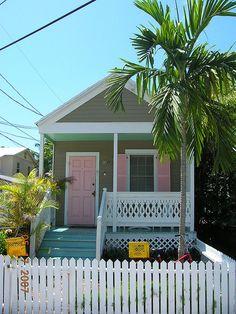 Key West, Florida cottage by becky Beach Cottage Style, Beach Cottage Decor, Cozy Cottage, Coastal Cottage, Coastal Living, Cottage Ideas, Key West Cottage, Key West House, Pink Houses