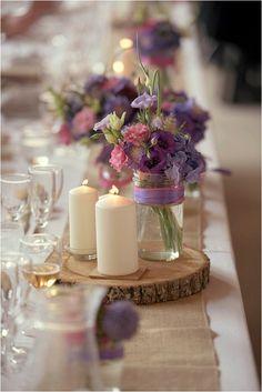 purple tone and rustic wedding decorations | Image by Awardweddings