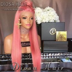 Carina Peruvian Remy Human Hair Pink Color Front Lace Wig Pre-Plucked Hairline Straight Hair with Baby Hair Glueless Wigs Pink Blue Lace Front Wig, Curly Full Lace Wig, Human Hair Lace Wigs, Curly Wigs, Remy Human Hair, Human Wigs, Remy Hair, Curly Hair, Synthetic Lace Front Wigs