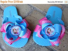85f1501f925fb2 Items similar to Princess Elsa Anna from Frozen INSPIRED Girls Ribbon Bow  Boutique Flip Flops for Disney Vacation on Etsy