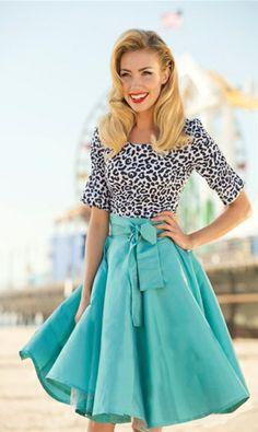 Reviewers say it runs small * needs the slip/crinoline for body>> ShabbyApple.com Blue Racer Skirt, animal print + #teal