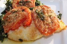 What's Cookin' Italian Style Cuisine: Baked Haddock with Spinach and Tomatoes Recipe Entree Recipes, Fish Recipes, Seafood Recipes, Cooking Recipes, Healthy Recipes, Yummy Recipes, Seafood Meals, Cooking Fish, Seafood