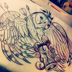 owl and hourglass tattoos - Google Search
