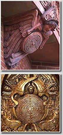 Labyrinth ornamentation - Watts Chapel, Compton, Surrey