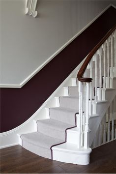 Modern Country Style: The Best Paint Colours For Small Hallways Click through for details. Farrow and Ball Brinjal below dado and Farrow and Ball Cornforth White above Modern Country Style: The Best Paint Colours For Small Hallway Best Paint Colors, Room Paint Colors, Paint Colors For Living Room, Hall Painting, Victorian Hallway, Victorian Townhouse, Hallway Colours, Purple Hallway Paint, Stairs