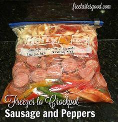 freezer-to-crockpot-sausage-and-peppers-final Freezable Meals, Slow Cooker Freezer Meals, Make Ahead Freezer Meals, Dump Meals, Freezer Cooking, Camping Meals, Cooking Tips, Freezer Meal Recipes, Chicken Freezer Meals