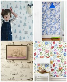 Beautiful wallpapers (and great wallpaper sources) for kids' rooms. Decorate a nursery, a child's accent wall; one of the fastest ways to transform a room.