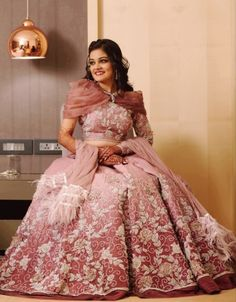 Mumbai Wedding With A Drool-worthy Ruffle Lehenga Blouse Setting Major Reception Outfit Goals - Witty Vows Mehendi Outfits, Bridal Outfits, Pink Tux, Bridal Poses, Lehenga Blouse, Looking Dapper, Pink Gowns, Groom Dress, Party Gowns
