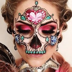 "12.6k Likes, 184 Comments - ________VANESSA DAVIS________ (@the_wigs_and_makeup_manager) on Instagram: ""Masquerade Jewel Skull ☠️💎💗🎭 This was inspired by the art work of @ryansmithtattooist and a few…"""