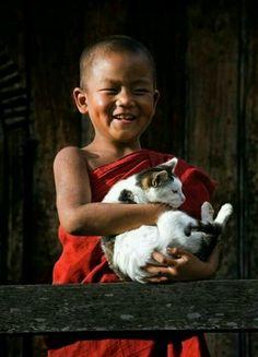 Feliz con el gato