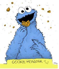 Cookie monster sketch: ::cookie monster:: by blackhorsewhispers on deviantart Couple Sketch, Couple Drawings, Cartoon Drawings Of People, Drawing People, Monster Sketch, Monster Illustration, Cartoon Drawing Tutorial, Disney Concept Art, Cookie Box
